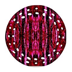 Pink Burgundy Traditional Pattern Ornament (round Filigree)  by Costasonlineshop