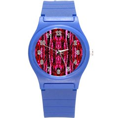 Pink Burgundy Traditional Pattern Round Plastic Sport Watch (s)