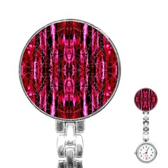 Pink Burgundy Traditional Pattern Stainless Steel Nurses Watch by Costasonlineshop