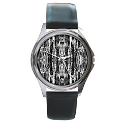 Black White Taditional Pattern  Round Metal Watch by Costasonlineshop