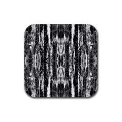 Black White Taditional Pattern  Rubber Coaster (square)  by Costasonlineshop