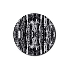 Black White Taditional Pattern  Rubber Round Coaster (4 Pack)