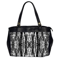Black White Taditional Pattern  Office Handbags (2 Sides)