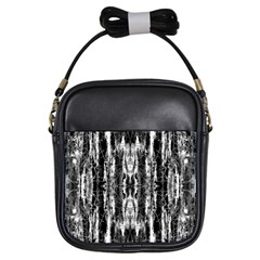 Black White Taditional Pattern  Girls Sling Bags