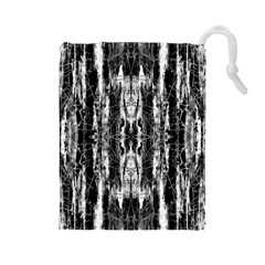 Black White Taditional Pattern  Drawstring Pouches (large)