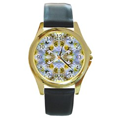 Blue Yellow Flower Girly Pattern, Round Gold Metal Watch by Costasonlineshop
