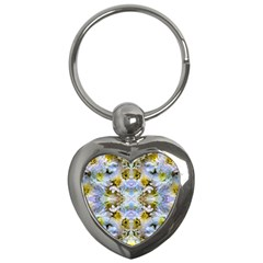 Blue Yellow Flower Girly Pattern, Key Chains (heart)  by Costasonlineshop
