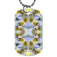 Blue Yellow Flower Girly Pattern, Dog Tag (one Side) by Costasonlineshop
