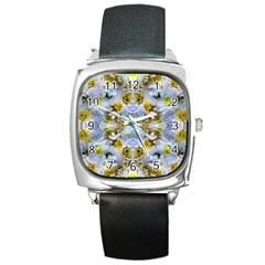 Blue Yellow Flower Girly Pattern, Square Metal Watch by Costasonlineshop