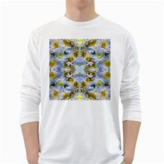 Blue Yellow Flower Girly Pattern, White Long Sleeve T Shirts