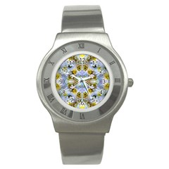 Blue Yellow Flower Girly Pattern, Stainless Steel Watch by Costasonlineshop