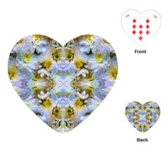 Blue Yellow Flower Girly Pattern, Playing Cards (heart)  by Costasonlineshop