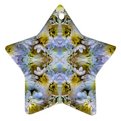 Blue Yellow Flower Girly Pattern, Star Ornament (two Sides)  by Costasonlineshop