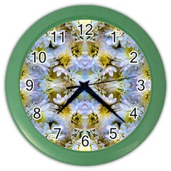Blue Yellow Flower Girly Pattern, Color Wall Clocks by Costasonlineshop