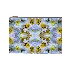 Blue Yellow Flower Girly Pattern, Cosmetic Bag (large)