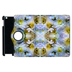 Blue Yellow Flower Girly Pattern, Apple Ipad 3/4 Flip 360 Case by Costasonlineshop