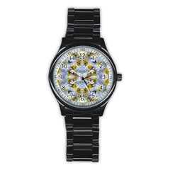 Blue Yellow Flower Girly Pattern, Stainless Steel Round Watch