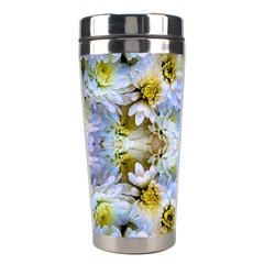 Blue Yellow Flower Girly Pattern, Stainless Steel Travel Tumblers by Costasonlineshop