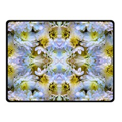 Blue Yellow Flower Girly Pattern, Double Sided Fleece Blanket (small)  by Costasonlineshop