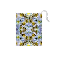Blue Yellow Flower Girly Pattern, Drawstring Pouches (small)