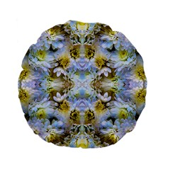 Blue Yellow Flower Girly Pattern, Standard 15  Premium Flano Round Cushions by Costasonlineshop