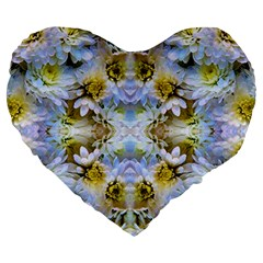 Blue Yellow Flower Girly Pattern, Large 19  Premium Flano Heart Shape Cushions