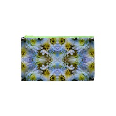 Blue Yellow Flower Girly Pattern, Cosmetic Bag (xs) by Costasonlineshop