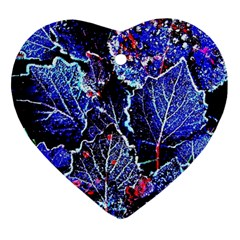 Blue Leaves In Morning Dew Ornament (heart)