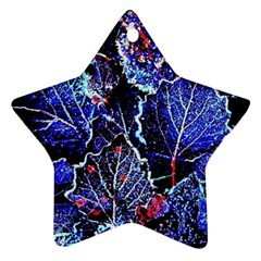 Blue Leaves In Morning Dew Ornament (star)