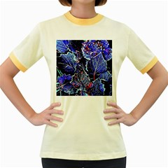 Blue Leaves In Morning Dew Women s Fitted Ringer T Shirts