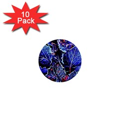 Blue Leaves In Morning Dew 1  Mini Buttons (10 Pack)