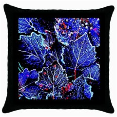 Blue Leaves In Morning Dew Throw Pillow Case (black)