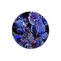 Blue Leaves In Morning Dew Magnet 3  (round) by Costasonlineshop