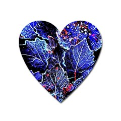 Blue Leaves In Morning Dew Heart Magnet