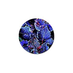 Blue Leaves In Morning Dew Golf Ball Marker by Costasonlineshop