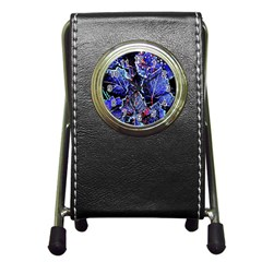 Blue Leaves In Morning Dew Pen Holder Desk Clocks