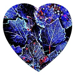 Blue Leaves In Morning Dew Jigsaw Puzzle (heart)