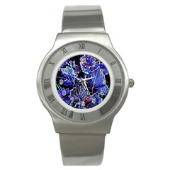 Blue Leaves In Morning Dew Stainless Steel Watch by Costasonlineshop