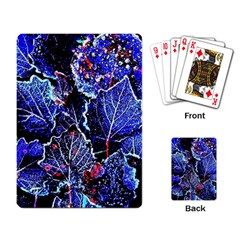 Blue Leaves In Morning Dew Playing Card