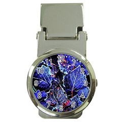 Blue Leaves In Morning Dew Money Clip Watches