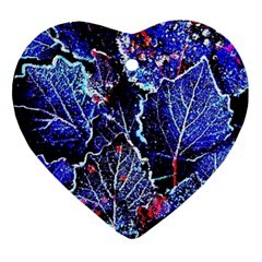 Blue Leaves In Morning Dew Heart Ornament (2 Sides) by Costasonlineshop