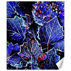 Blue Leaves In Morning Dew Canvas 8  X 10