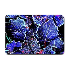 Blue Leaves In Morning Dew Small Doormat  by Costasonlineshop
