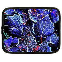 Blue Leaves In Morning Dew Netbook Case (large) by Costasonlineshop