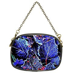 Blue Leaves In Morning Dew Chain Purses (one Side)