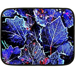 Blue Leaves In Morning Dew Fleece Blanket (mini) by Costasonlineshop