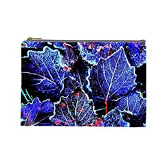 Blue Leaves In Morning Dew Cosmetic Bag (large)  by Costasonlineshop