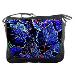 Blue Leaves In Morning Dew Messenger Bags