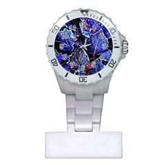 Blue Leaves In Morning Dew Plastic Nurses Watch by Costasonlineshop
