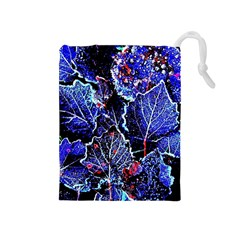 Blue Leaves In Morning Dew Drawstring Pouches (medium)